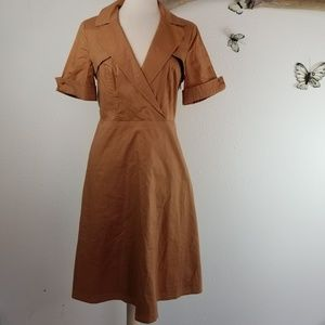 Spence terracotta fitted shirt dress mad men style